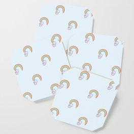 Kawaii proud rainbow cattycorn pattern Coaster