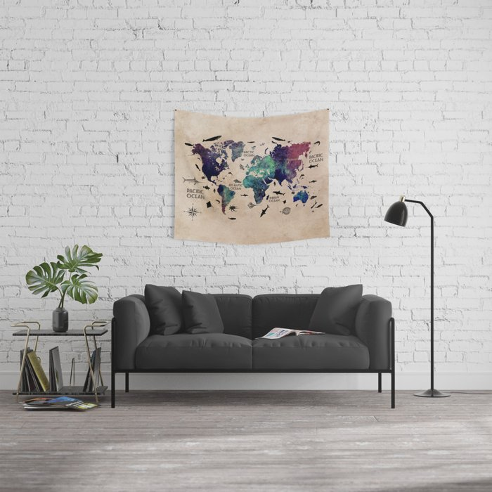 Oceans Life World Map #map #worldmap Wall Tapestry