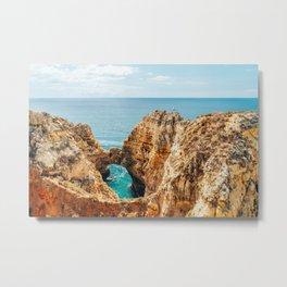 Ocean Landscape, Rocks And Cliffs, Lagos Bay Coast, Algarve Portugal,Wall Art, Poster Decor Metal Print
