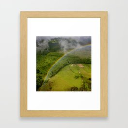 Hawaiian Rainbow Over Valley in Kauai: Aerial View Framed Art Print
