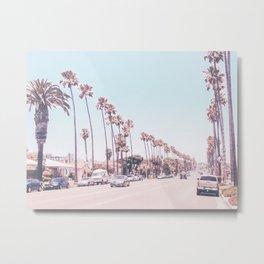 California Sidewalks // Blue Ocean Skyline Roadside Palm Trees Tropical Hollywood Paradise Metal Print