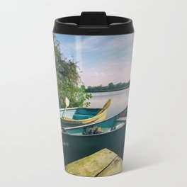 Canoe and Row Boat tethered on the River Thames Travel Mug