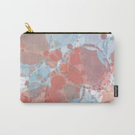 Round And Round Coral Blue Carry-All Pouch