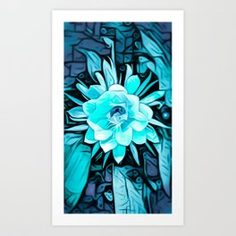 Blue Cereus Flower Art Print