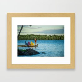 Evening Fishing by the Lake Framed Art Print