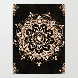 Glowing Spirit Black White Mandala Design Poster