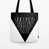 unicorns Tote Bags featuring Unicorns by Mia & Booboo