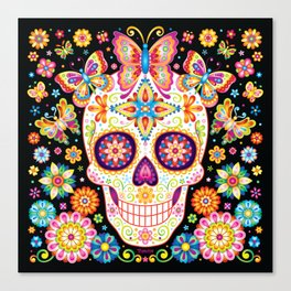 Sugar Skull Art - Sugar Skull with Butterflies and Flowers by Thaneeya McArdle Canvas Print