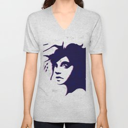 street art style girl in blue and pink on marble pattern Unisex V-Neck