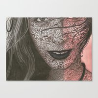 no face Canvas Prints featuring Face  by Kate Allison