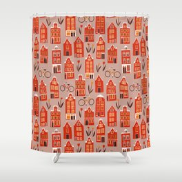 Red Orange Holland Houses Shower Curtain