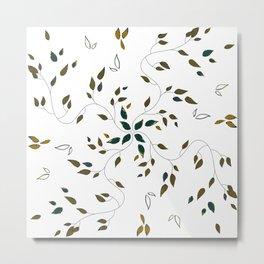 Mosaico foglie oro blu verde petrolio Metal Print