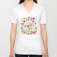 macaroon V-neck T-shirts featuring yum yum by Anna Alekseeva kostolom3000