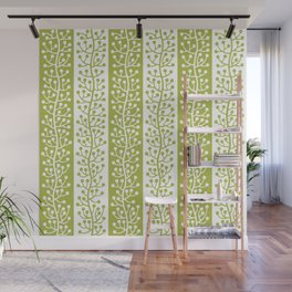 Mid Century Modern Berry Vine Stripes Chartreuse Wall Mural