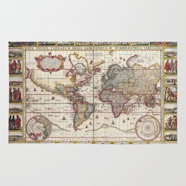 1652 Map of the World, Doncker Sea Atlas World Map Rug