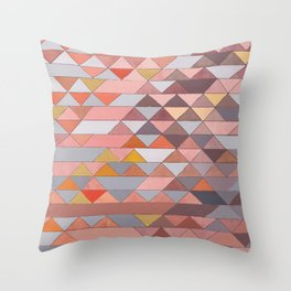 Triangle Pattern no.5 Gold, Pink and Brown Throw Pillow