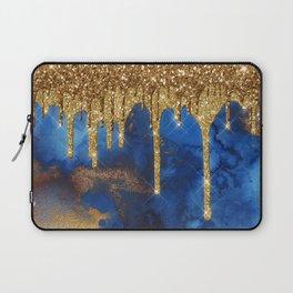 Gold Rain on Indigo Marble Laptop Sleeve