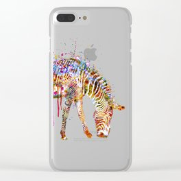 Zebra watercolor painting Clear iPhone Case