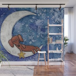 Dachshund on the Moon Wall Mural