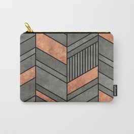 Abstract Chevron Pattern - Concrete and Copper Carry-All Pouch