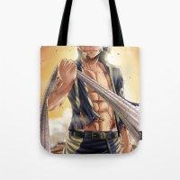 arya Tote Bags featuring Natsu - End Tartaros Arc by Arya