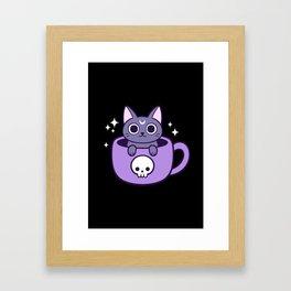 Black Magic Tea / Coffee Cat 02 Framed Art Print