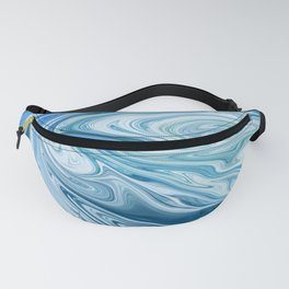 Gemstone [4]: a vibrant abstract melted design in blues and white by Alyssa Hamilton Art Fanny Pack