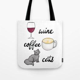 Wine Coffee Cats Tote Bag