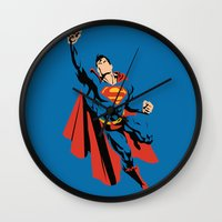 dc Wall Clocks featuring DC - Superman by TracingHorses