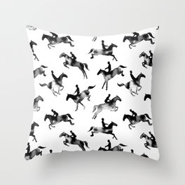Watercolor Showjumping Horses (Black) Throw Pillow