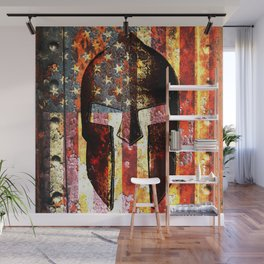 American Flag And Spartan Helmet On Rusted Metal Door - Molon Labe Wall Mural