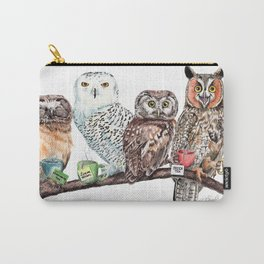 Tea owls , funny owl tea time painting by Holly Simental Carry-All Pouch
