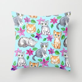 Kittens and Clematis - blue Throw Pillow