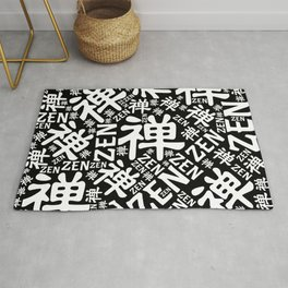 Zen Symbol and word pattern black and white Rug