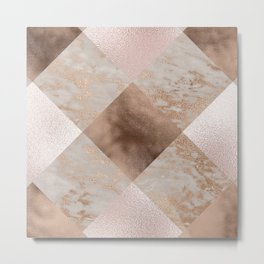 Copper and Blush Rose Gold Marble Gingham Metal Print