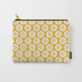 Canary Yellow Retro Floral Carry-All Pouch