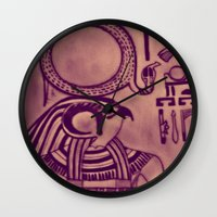 egyptian Wall Clocks featuring Egyptian (Horus) by Aaron Carberry