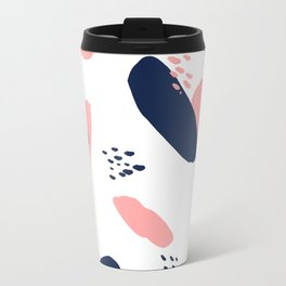 Modern abstract navy blue pastel pink geometric paint strokes with hand painted dots Travel Mug
