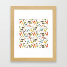 Cute Woodland Creatures Pattern Framed Art Print