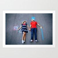 Love couple lying on floor  Art Print
