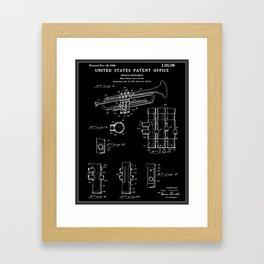 Trumpet Patent - Black Framed Art Print
