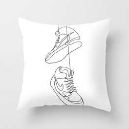 Sneakers simple minimal one line art, hanging shoes branded shoes  Throw Pillow