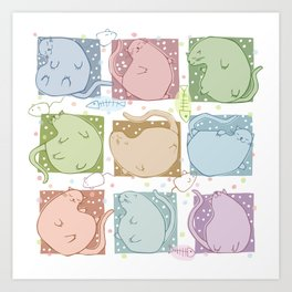 Blobby Cats Art Print