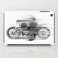 cafe racer iPad Cases featuring SKULL AND CAFE RACER by Joedunnz