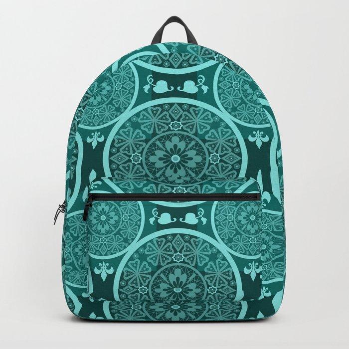 Turquoise abstract seamless lace pattern texture background Backpack