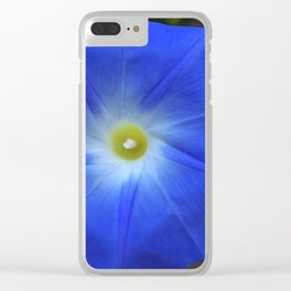 Blue, Heavenly Blue morning glory Clear iPhone Case