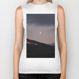Moon over blackness and red pink ice Biker Tank