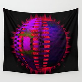 Purple Layered Star in Red Flames Wall Tapestry