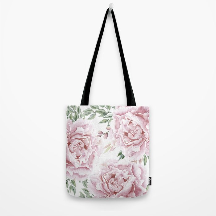Beautiful Pink Watercolor Floral Bouquet Tote Bag