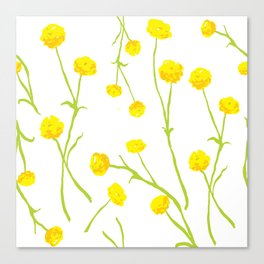 Summer Flower Pattern in Yellow and Green Canvas Print